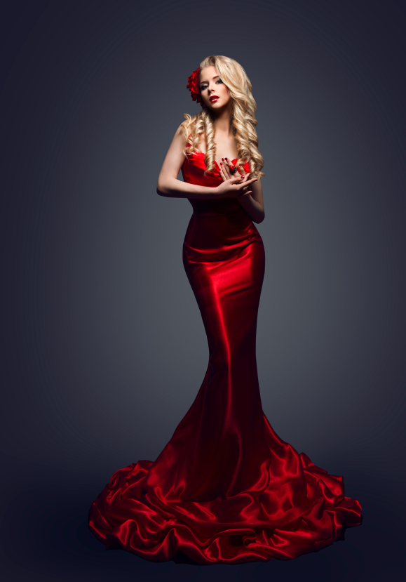 Fashion Model Red Dress, Stylish Woman in Elegant Beauty Gown, Girl Posing Slinky Evening Clothes in Studio